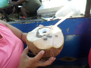 My wife hands me my coconut. Fresh coconut water after a walk.......it's the best