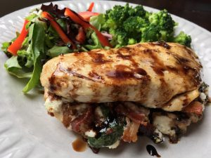Bacon,Cheese & Basil Stuffed Chicken Breasts